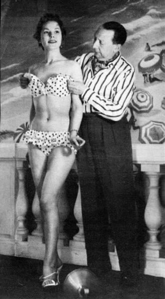 "Louis Réard, the inventor of bikini, with a model in 1946 The idea of a suit ""smaller than the world's smallest bathing suit"" struck him when he saw women rolling up their beachwear to get a  better tan. He named his creation bikini after the Bikini Atoll, which was the site of nuclear weapon tests. Words like ""atomic"" were beginning to be used by the  media to describe something sensational and indeed, the shock the bikini would eventually cause would equal that of the bomb."