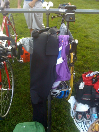 Setting up my bike at the transition zone for my first triathlon. All the athletes were super nice and helpful, which made the experience that much more enjoiable!