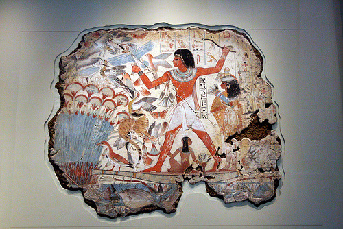 thevaultedsky:  aboutegypt:  Nebamun hunting and fishing: Egyptian wall painting from Thebes c.1350 BC (by monopthalmos)