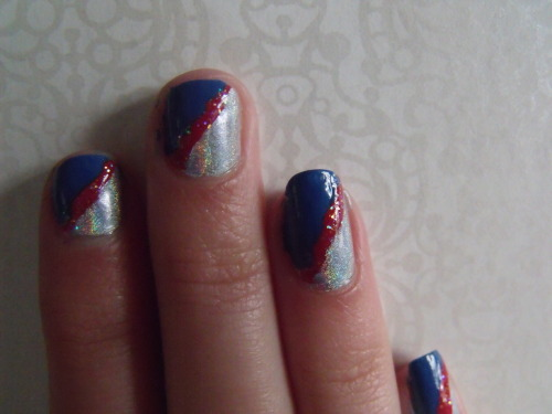 a bit messy and my nails are short but my red, white and blue inspired nails! :)