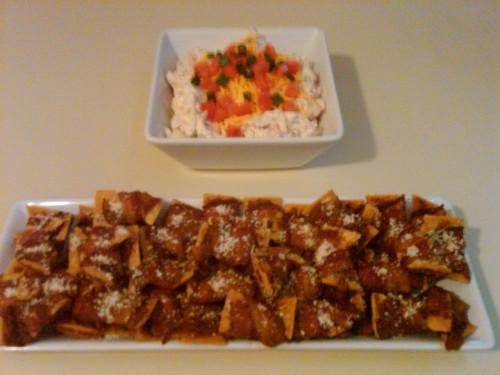 eatallday:  Bacon Wrappetizers:   Ingredients: 1 package Club Crackers 1 pound thin sliced bacon Grated Parmesan Cheese (optional alternative: brown sugar)    Directions:       Lay crackers face up on a cookie sheet       Cut package of bacon in half       Scoop approximately 1 teaspoon on parmesan cheese onto each cracker       Carefully, wrap each cheese covered cracker in one piece of bacon. Make sure the cheese doesn't fall off, and the cracker is completely covered       Place the bacon wrapped crackers onto a baking sheet with a rack in it       Bake in 250-degree over for 2 hours These were a MASSIVE hit with my family and are now expected at every gathering. I always make a LOT because everyone wolfs these down like they'll never be fed again. BLT Dip   Ingredients: 1 cup sour cream 1/2 cup mayonnaise 4 ounces cream cheese 1/2 cup shredded cheddar cheese 1/2 green bell pepper, diced 1/4 yellow onion, chopped 1 tomato, seeded and diced 1 pound bacon, cooked and crumbled 1/2 teaspoon garlic powder Black pepper to taste Crackers/bread cubed, for dipping Shredded Lettuce, for garnish In a medium bowl blend sour cream, mayonnaise, cream cheese, garlic powder and black pepper. Fold in shredded cheese, green pepper, onion, tomato and bacon. Garnish with more tomato, shredded cheese and lettuce. This was good. Thicker than I expected it to be, but delicious non-the-less. I garnished with green onion rather than lettuce, simply because we had no lettuce.