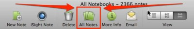 Click on the All Notes button on the Evernote Desktop version to clear your previous searches and view all your notes.