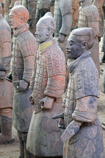 Terra Cotta Warriors The terracotta  figures, dating from 210 BC, were discovered in 1974 by some local  farmers near Xi'an, Shaanxi province, China near the Mausoleum of the  First Qin Emperor.