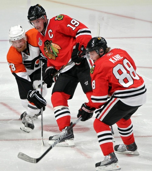 goldenhockeypuck:  Game Day Jonathan Toews picture. Featuring Toews face.