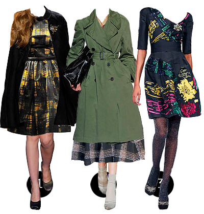 1: cape by tory burch, dress by prada, shoes by dries van noten2: coat and bag by dries van noten, shirt by chloe, skirt by louis vuitton, shoes and socks by marc jacobs3: dress and tights by oscar de la renta, shoes by dries van noten