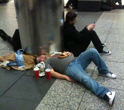 via @subwaydouchery:  SUBWAY DOUCHERY : The Picture of Health In this health conscious day and age, it's difficult to hit the town without thinking about all the calories! So let the picture above be your guide to a nutritious but delicious evening! - DRINK UP! Before going to Penn Station, drink about twelve to fifteen beers. It's a good solid base of alcohol that coats the stomach and prevents the carbs from entering your fat cells. - NO-SKI TO THE TAXI! It's a beautiful evening, take a walk! See the sights, stumble into pedestrians, whip out your iPod and listen to Johnny Cash's version of Hurt on repeat until your start sobbing uncontrollably. The only thing really hurtin' will be the burnin' of calories! - TIME TO REFUEL! Woooof .. after all that exercise, the body becomes depleted. LOAD UP! We all know one large soda is never enough, so better make it two! The Salted Soft Pretzel is the perfect balance of carbohydrates and sodium. No wonder it's the post workout choice of bodybuilders and yogis alike! - REST UP! Your train isn't coming for at least twenty minutes and the body only builds muscle while at rest. So pile up your jacket and scarf like a scented pillow at the finest health spa… begin the cool down! - THANKS GIULIANI! There hasn't been a mugging in New York City in the last twenty years so FUHGEDDABOUDIT!?! You are completely safe from losing your wallet, cell phone, shoes, and watch… trust me and the guys hanging out by the vending machines who clearly aren't ticket holders! *** Another addition from the Long Island Railroad series sent in by dear confidant of the Douchery, James! Thanks brother! Keep on Douchin' ***