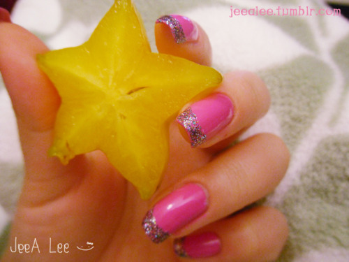 Hot Pink Nails With Multi-Colored Glitter Tips Photographed With One Of My Favos, Starfruit!  :)