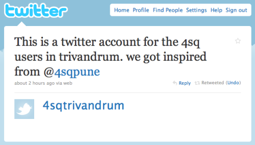we evangelize @foursquare in India… @4sqDelhi & @4sqTrivandrum join in! via @4sqPUNE #4sqday