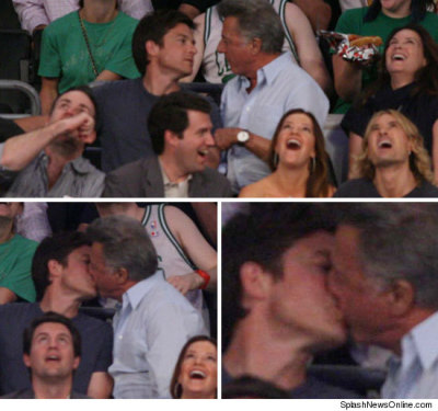 "lgbtlaughs:  joemuto:  Dustin Hoffman and Jason Bateman on the kiss-cam at the Lakers game last night. (via)  ""When the Kiss Cam caught Hoffman on the JumboTron, instead of turning to his wife… the 72-year-old smacked a wet one on Bateman. Dustin's got game.""   I don't think those people in front of them realize that the real action is going on RIGHT BEHIND THEM. lmao."