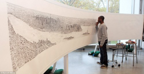 Stephen Wiltshire. This young artist is grabbing a lot of attention by the likes of CBS and other national news outlets. Stephen has been drawing cities since being diagnosed with autism at a young age, saying it's his way to express himself. What's unique about this artist though is that all he needs is a 20 minute helicopter ride above New York and after 7 days, 12 pens, and a lot of music on his ipod, he finishes the massive 18 ft accurate depiction of the city all from memory. He's so accurate that when drawing Rome, he drew the exact number of columns in the Pantheon. His work is being shown at Brooklyn's Pratt Institute along with his permanent gallery in the Royal Opera Arcade, Pall Mal.