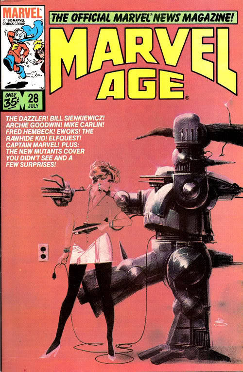 Imma pull the plug on that marauding manbot    Marvel Age #28, 1985