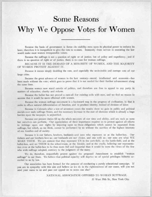 ~National association opposed to woman suffrage. New York City, 1894 Library of Congress DIGITAL ID: rbpe 1300130c http://hdl.loc.gov/loc.rbc/rbpe.1300130c