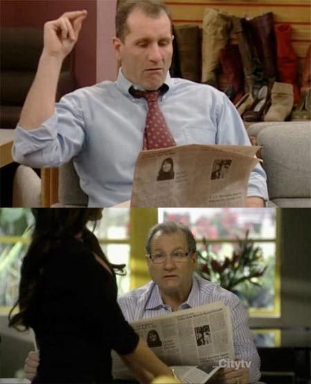 bobloblawslawblog:  Ed O' Neill has been reading the same newspaper for 20 years.