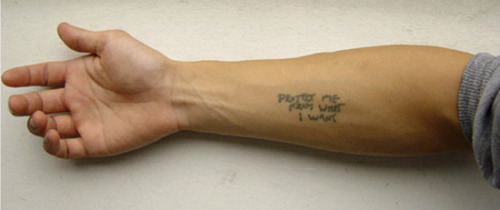 shooshee:  tobias wong 1974-2010tattoo, 2002 by jenny holzer tobias wong approached holzer at a show and asked her to write 'protect me from what I want' on his forearm, which he then had permanently inked