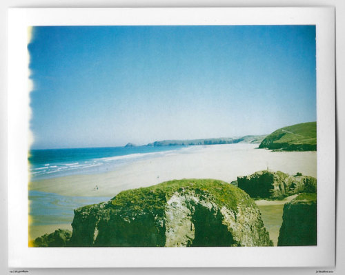 Day 135.  Lets go for a walk.   Perranporth, Cornwall, UK. Polaroid Land Camera 240 and 125i film (expired 12/2007). (Polaroid photograph, all rights reserved, copyright: Jo Bradford 2010