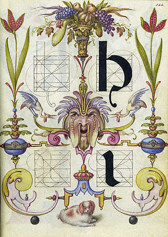 Joris Hoefnagel Guide for Constructing the Letters H and I 1591-96