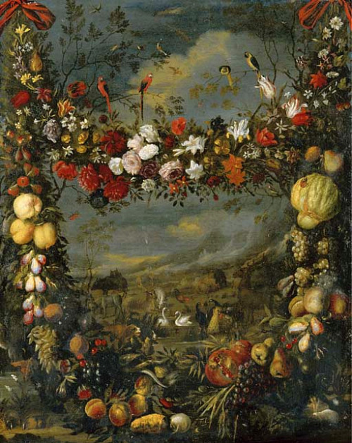 Jan Pauwel Gillemans Animals in a Landscape Surrounded By a Garland 17th century