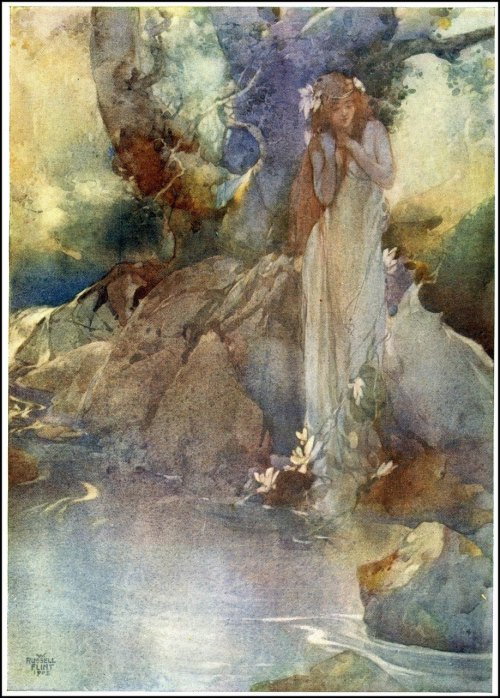 artofnarrative: moncabinetdecuriosites: faerieshelf: zasu: 1910 Sir William Russell Flint (English 1880-1969) Illustration for Gilbert & Sullivan's opera Iolanthe via ~ Iolanthe Rises From the Water