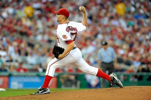 Sure, Stephen Strasburg struck out 14 in seven innings tonight, but he was facing the Pittsburgh Pirates. Any one of us could strike out seven or eight Pirates in seven innings. Ronnie Cedeno once struck out looking against a pitching machine, after all. Let me know when Strasburg makes his debut against a major league team. (Photo by Greg Fiume/Getty Images)