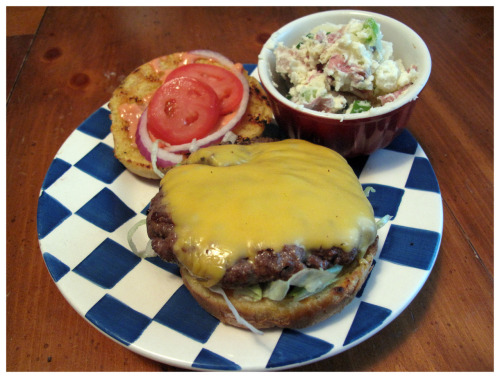 "Home Burger #5 - The Basic Ground Chuck, American Cheese, Lettuce, Tomato, Red Onion & an approximation of The Rookwood's ""Fry Sauce"" (ketchup, mayo, Sriracha, relish, garlic powder) on the best simple bun you can get, Butternut Golden Honey Egg Buns. I also made some red-skin potato salad and mixed in some of the extra fry sauce. tasty."