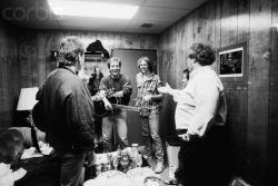 csny:  CSNY with Bruce Springsteen and Nils Lofgren, 1986, backstage at the Bridge School Benefit Concert.