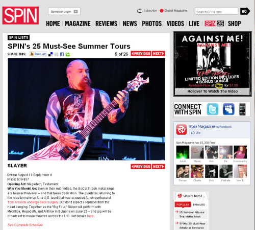 Slayer listed in SPIN Magazine's 25 Must See Summer Tours.