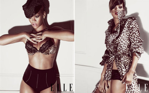 Rihanna on Elle's July Cover Fashion plate Rihanna is Elle's July cover girl and she sparkles in a Balmain minidress on the cover along with her half-blonde, half-brunette coif. Inside the magazine, the photos get steamier with the Barbarian beauty in lingerie by La Perla, Blush, and 3.1 Phillip Lim, old fashioned hats and veils, and graphic leopard-printed pieces by Roberto Cavalli and Lanvin. See them all in the behind-the-scenes video here. Full story on StyleList after the jump. [Rihanna in a Blush bra with La Perla briefs (left) and a Lanvin trench over 3.1 Phillip Lim boy shorts (right). Photo: Tom Munro]
