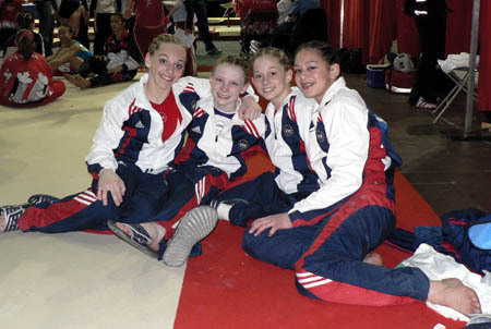with teammates Samantha Peszek, Shantessa Pama, and Bridget Sloan at the 2006 Gymnix International cornrows were the rage