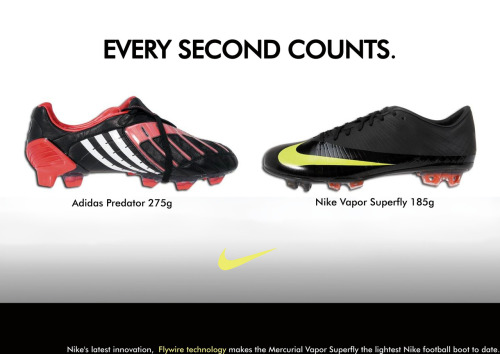 This is my poster. It's comparing two different football boots, The ADIDAS predtor and the NIKE VAPOR. I'm comparing the weight of the boots and therefore the speed a player will gain when wearing the Nike. :)