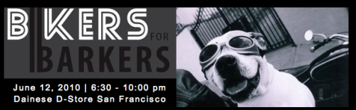 Bikers for Barkers is a rad benefit happening on this Saturday, June 12 in SF. Damn, there are lots of events this weekend. Hopefully Meave will have you covered in links (good luck, girl! events be outta control this weekend!) but this one is awfully special. First off, it's all vegan and there's gonna be lots of vegan treats, including the delicious and amazing Rescue Chocolate (!!!). It's $20 to get in and all the money goes to two fabulous California dog rescue organizations, Rocket Dog Rescue, and Hearts for Hounds. There's gonna be a great silent auction, non-crappy live entertainment, and tons of booze. What more could you ask for? The one bummer is no dogs allowed but leave Fido (who has a dog named Fido?) at home and come get drunk and crazy with us. Ow!