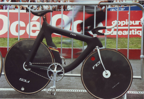 Photo of the German FES Pursuit Bike at the 1988 Olympics in Seoul.  Tony Graham just came across a couple old shots he took of these futuristic bikes built for the East Germany team and used in the Individual and Team Pursuits.  Twenty-two years later and that bike still looks like it's from the future.  I've recently been watching some VHS tapes I have of the UCI World Championships in the early 90's and the German team were rocking these bikes.  It's great to be able to see one in more detail.  Thanks, Tony!  Check out his Flickr for more great cycling photos.