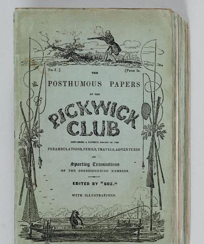 "The Posthumous Papers of the Pickwick Club  Dickens, Charles. London: Chapman and Hall, April 1836- November 1837.  FIRST EDITION IN ORIGINAL MONTHLY PARTS OF DICKENS' FIRST NOVEL.  20 parts in 19, 8o (223 x 143 mm). 43 engraved plates (including engraved title) by R. Seymour and Hablot K. Browne [""Phiz""] (light marginal stains on some). Original green pictorial printed wrappers (a few spines rebacked, others with some minor marginal repairs, some minor soiling and wear to a few covers); green cloth folding case (broken).  Via Christie's"