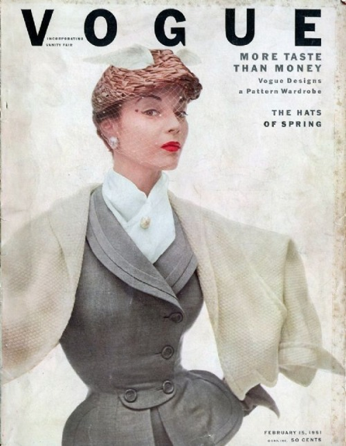 Jean Patchett on the cover of Vogue, February 1951.  I need a suit like this. (Image via Fashionising)