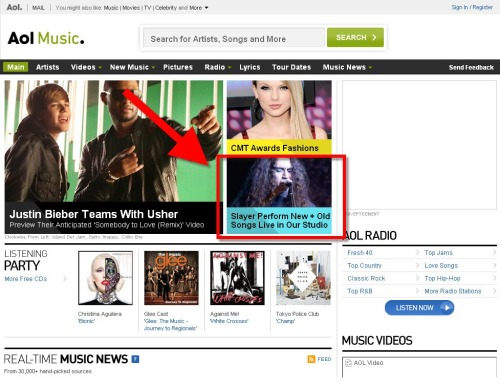 Slayer's AOL Session featured on the AOL Music Homepage.