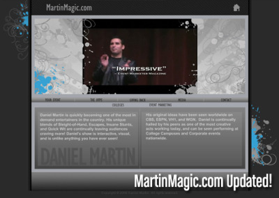 SITE UPDATE! Lots of updates made in MartinMagic.com…  an overhaul new look to the website with intricate line art and designs applied. Also, new media! Video, new pics and more! Check out the new updates for Daniel Martin's website HERE! - www.AllisonReich.com- blog.allisonreich.com