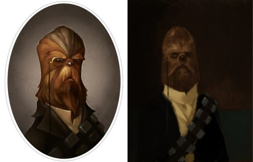 "fyeahstarwars:  thedailywhat:  Ye Olde Star Wars Artwork of the Day: ""Dapper Chewbacca"" by Greg Peltz (L) and his source of inspiration, Robert Mackenzie's John Singer Sargent-style Chewie portrait.  [superpunch.]   Chewbacca monóculo. Viva el internet"