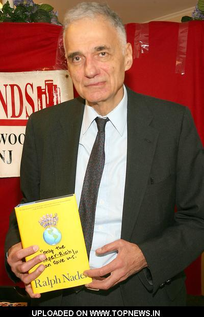 "I saw Ralph Nader at Union Station doing a book signing today! I really wanted to go meet him, shake his hand, but the only other people that did so were old and/or men. So I felt a bit awkward and just gawked for a bit while spazzing out to Linda, ""OHMYGOSH OH MY ISH MAN! IT'S RALPH FREAKING NADER!"" (Her response: Who?) Only the Super-Rich Can Save Us has been out for a bit now."