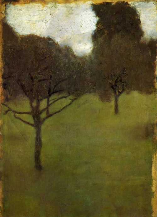 merisoniomart: derelictuslyfun: Gustav Klimt Orchard 1898 via  Golden Age Comic Bookstories sealmaiden: