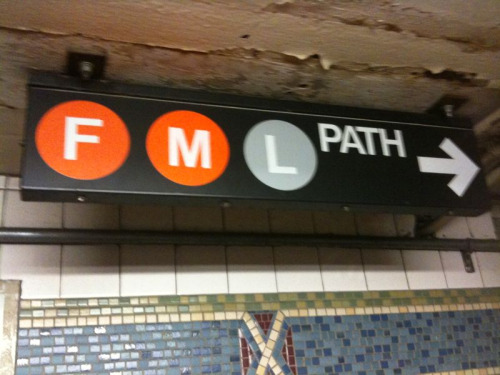 joshmohrer:  caro:  juliakaganskiy:  MTA FAIL! The MTA is planning on extening V train service into Brooklyn and merged the V line with the M line. Problem is, by replacing the V with an M, they have unwittingly spelled out the acronym FML (which, come to think of it, probably describes most commuters feelings about riding the MTA).  Amazing