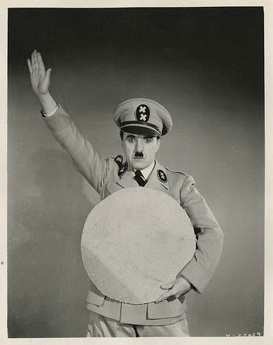 Charlie in a test shot for the Great Dictator, with the use of a cut out instead of the globe used in the final film.