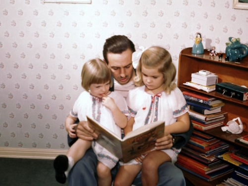 icouldadrowned:  Walt reading to his two girls, Sharon & Diane Disney.   <3