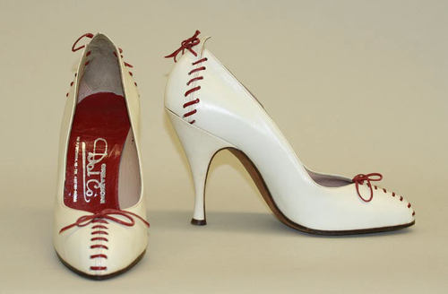 Fun baseball inspired pumps by Dal Co., 1956-1957.
