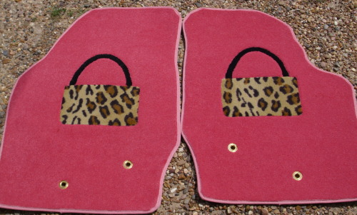 Handbag motif car mats. If you trace your car mats we can make whatever shape your car requires. We can also add grommets for the floor hooks on many cars.