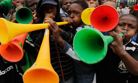 "Guardian: World Cup organizer considers vuvuzela ban after tv complaints Fifa has previously shrugged off complaints from broadcasters, players  and coaches about the noise from the plastic horns that are being sold  on every street corner in South African host cities; it said that the horns formed part of the unique African atmosphere  of the tournament and refused to ban them. But organizing committee chief executive Danny Jordaan, who battled for 16 years to bring the World Cup to South Africa, said he would prefer  the 10 stadiums hosting the World Cup to ring to the sound of singing  and dancing than the drone of the vuvuzela. ""I would prefer  singing. It's always been a great generator of a wonderful atmosphere in  stadiums and I would try to encourage them to sing,"" he said. ""In  the days of the struggle (against apartheid) we were singing, all  through our history it's our ability to sing that inspired and drove the  emotions."""