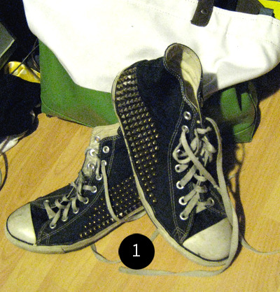 textbook:  1: the studded converse, don't mind my mess of a room.  OMG! I want this.