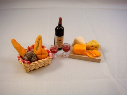 Dollhouse Miniatures: Wine and Cheese set from Bebe Toby. My dollhouse people would have had a much richer life if these miniatures were around when I was young!