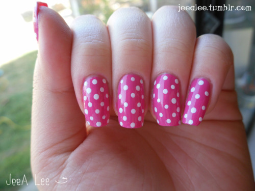 My Trademark Hot Pink With White Polka Dots
