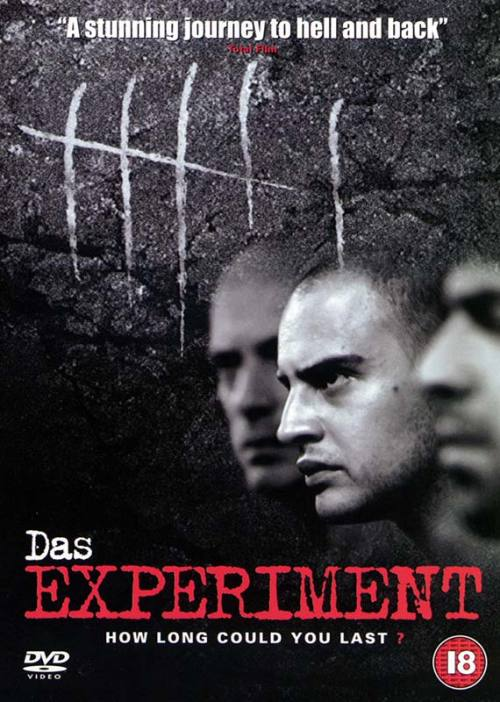 "the movie is based on the infamous ""stanford prison experiment"" conducted in 1971. a makeshift prison is set up in a research lab, complete with cells, bars and surveillance cameras. for 2 weeks 20 male participants are hired to play prisoners and guards. the 'prisoners' are locked up and have to follow seemingly mild rules, and the 'guards' are told simply to retain order without using physical violence. everybody is free to quit at any time, thereby forfeiting payment. in the beginning the mood between both groups is insecure and rather emphatic. but soon quarrels arise and the wardens employ ever more drastic sanctions to confirm their authority. dir.: oliver hirschbiegeldrama / thriller2001moritz bleibtreu as tarek fahd / häftling Nr. 77 / prisoner #77christian berkel as steinhoff / häftling Nr. 38 / prisoner #38justus von dohnanyi as berus / strafvollzugsbeamter / guardsome facts:- based on a true story, professor philip zimbardo's ""stanford prison experiment"".- although no one died in the stanford prison experiment on which the movie was based, the experiment was prematurely ended after 6 days out of a planned 2 weeks. the college students assigned to be prisoners was ""withdrawing and behaving in pathological ways"" as a result of the degrading treatment they received. quite a few scenes in the movie actually happened in the original experiment, including the early fire extinguisher scene and the prisoners being forced to clean the toilets by their bare hands. - filmed in chronological order. - christian berkel originally auditioned for the part of schütte but was then cast as steinhoff.- oliver stokowski (schütte) is actually claustrophobic. in an early scene where the prisoners are crammed into the elevator, a hint of his genuine uneasiness is visible. +: click en la foto+: stanford prison experiment"