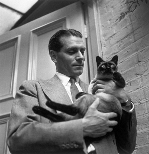 avanishedtime:  Laurence Olivier with his cat named New  i am certain i have reblogged this before, but it's his birthday and he's one of my favey favez AND HE IS HOLDING HIS CAT.