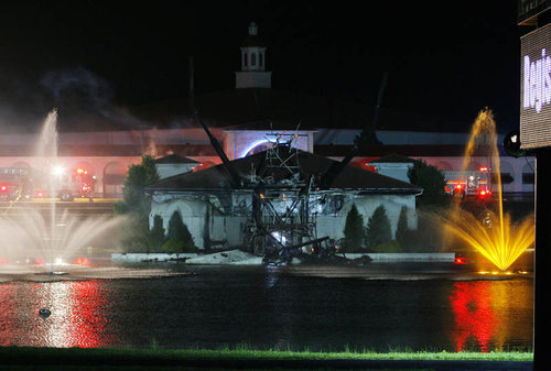 """Touchdown Jesus"" statue in Ohio struck by lightning, destroyed (Click image for story; to see statue standing, click here http://christiannightmares.tumblr.com/post/353080925/solid-rock-church-in-monroe-ohio-click-image-for)"